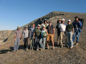 Photo showing a volunteer group and MSRP staff during a planting trip on Santa Barbara Island.