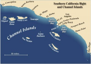 Map showing the Southern California Bight and Channel Islands